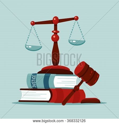 Justice Scales And Wooden Judge Gavel Concept. Law Hammer Sign With Books Of Laws. Legal Law And Auc