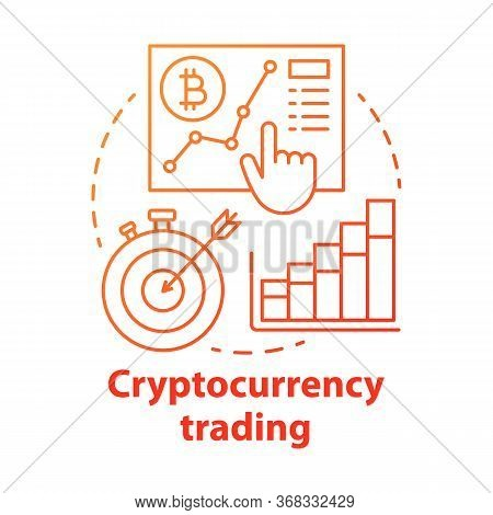 Cryptocurrency Trading Red Concept Icon. Speculating On Price Movements Idea Thin Line Illustration.
