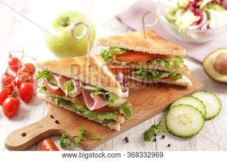 club sandwich with fresh vegetable