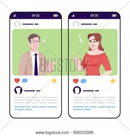 Joking Talk, Flirtation Social Media Posts Smartphone App Screen. Mobile Phone Displays With Cartoon