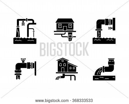 Drainage Pipe System Black Glyph Icons Set On White Space. Home Sanitation Service. Pipeline Structu