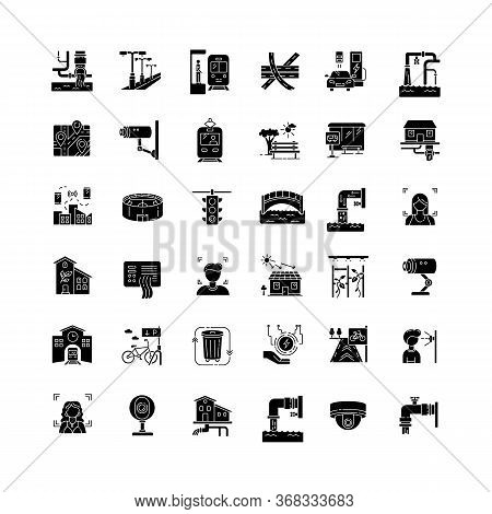 City Infrastructure Black Glyph Icons Set On White Space. Traffic Control. Pipeline For Resource. El