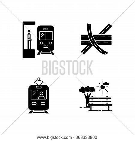 City Transportation Black Glyph Icons Set On White Space. Subway Station. Highway Multi Level Juncti