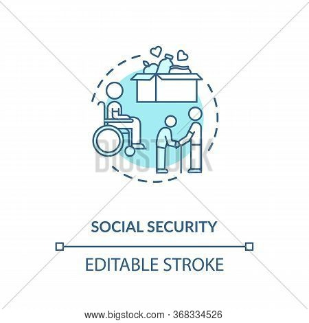 Social Security Concept Icon. People In Need Help. Old Age Pensioners Support. Caregiving Service. F
