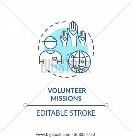 Volunteer Mission Concept Icon. People Worldwide Support. Voluntary Abroad Service. Charity Organiza