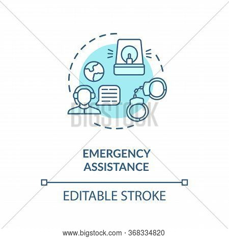 Emergency Assistance Concept Icon. Foreign Country Citizens Helpline. Call Center Representative Ide