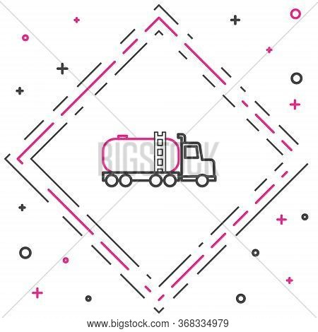 Line Tanker Truck Icon Isolated On White Background. Petroleum Tanker, Petrol Truck, Cistern, Oil Tr