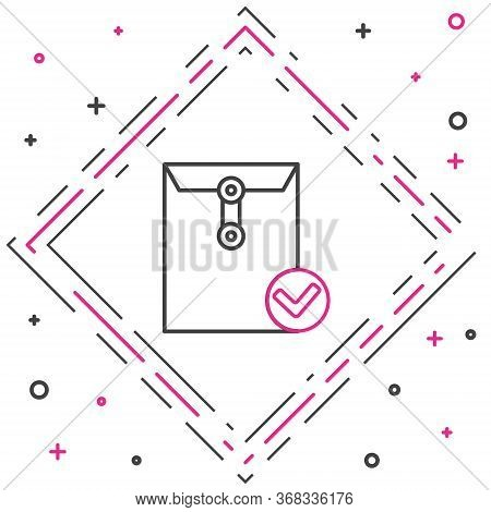 Line Envelope And Check Mark Icon Isolated On White Background. Successful E-mail Delivery, Email De