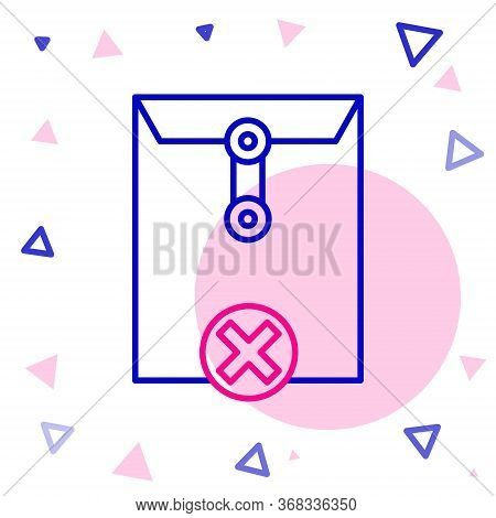 Line Delete Envelope Icon Isolated On White Background. Delete Or Error Letter. Cross On Message. Re