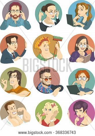Vector Cartoon. Set Of Funny Portraits, Avatars Of Various People. Modern Men And Women Of Diverse C