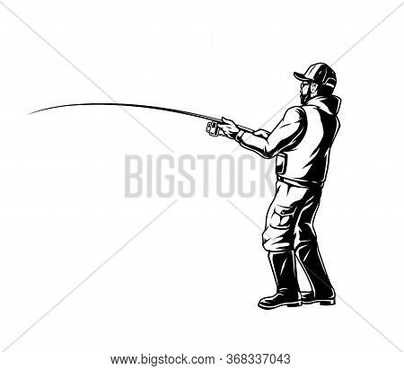 Fisherman Holding Fishing Rod In Vintage Monochrome Style Isolated Vector Illustration