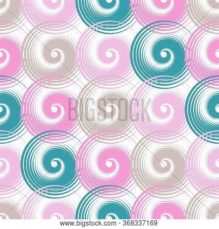 Spiral Swirls Decorative Seamless Pattern Vector Design. Round Spiral Scrolls, Circle Swirls Geometr