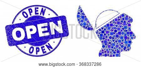 Geometric Open Mind Mosaic Icon And Open Seal Stamp. Blue Vector Rounded Grunge Seal Stamp With Open