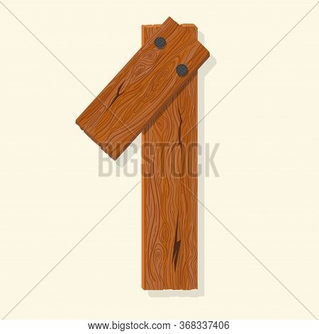 Wood Number, Wooden Plank Numeric Font Held With Nails. Vector