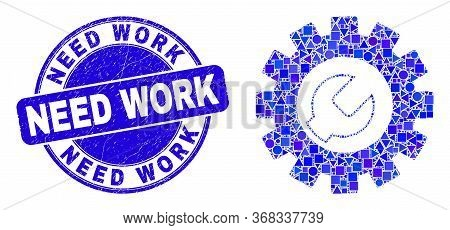 Geometric Setup Tools Mosaic Icon And Need Work Stamp. Blue Vector Rounded Scratched Stamp With Need