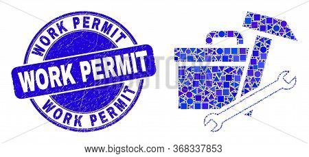 Geometric Toolbox Mosaic Pictogram And Work Permit Seal Stamp. Blue Vector Rounded Scratched Seal St