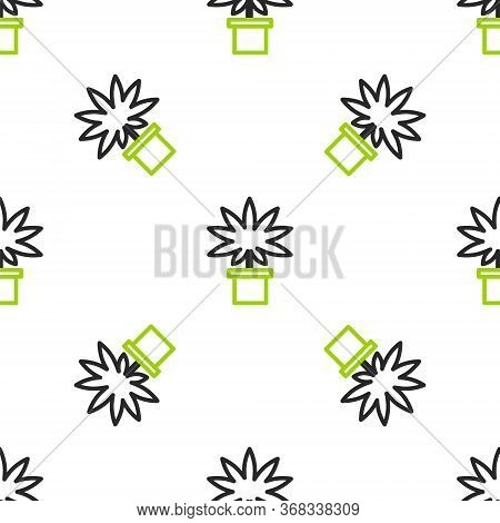 Line Medical Marijuana Or Cannabis Plant In Pot Icon Isolated Seamless Pattern On White Background.