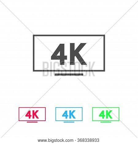 Lcd 4k Icon Flat. Color Pictogram On White Background. Vector Illustration Symbol And Bonus Icons
