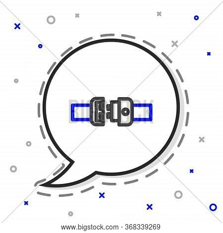Line Safety Belt Icon Isolated On White Background. Seat Belt. Colorful Outline Concept. Vector Illu