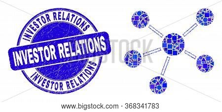 Geometric Relations Mosaic Icon And Investor Relations Seal Stamp. Blue Vector Round Grunge Seal Sta
