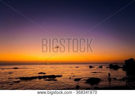 Summer Sunset Seascape On Tropical Phu Quoc Island, Duong Dong Village In Vietnam. Romantic View On