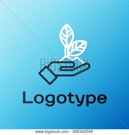 Line Plant In Hand Of Environmental Protection Icon Isolated On Blue Background. Seed And Seedling.