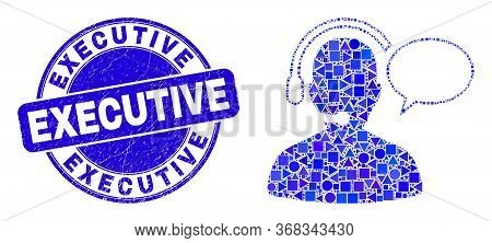 Geometric Operator Message Mosaic Icon And Executive Watermark. Blue Vector Rounded Textured Waterma