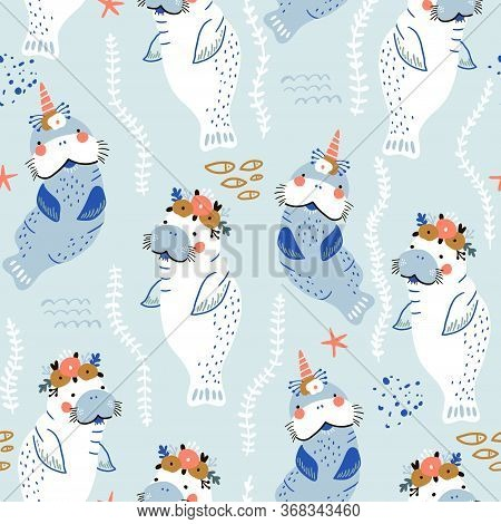 Seamless Childish Pattern With Cute Manatees With Floral Wreaths And Unicorn Horns. Vector Illustrat