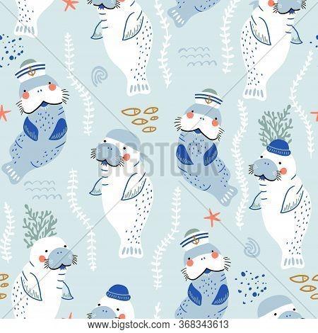 Seamless Childish Pattern With Cute Manatees Sailor Caps And Bandanas. Creative Scandinavian Style U