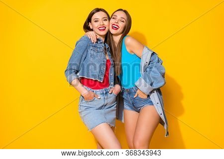 Portrait Of Excited Funky Lovely Girls Fellows Enjoy Summer Time Weekend Free Time Feel Rejoice Wear