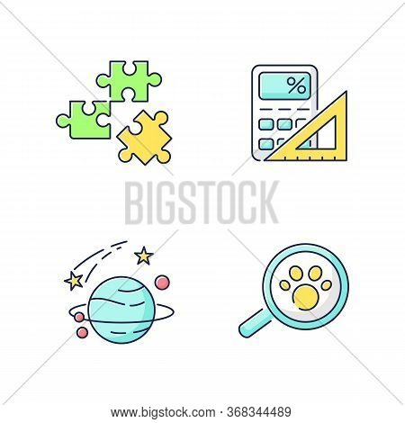 Natural And Formal Sciences Rgb Color Icons Set. Different Scientific Fields Of Study. Logic, Mathem