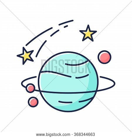 Astronomy Rgb Color Icon. Natural Science, Space Exploration. Planets Discovery And Study, Universe