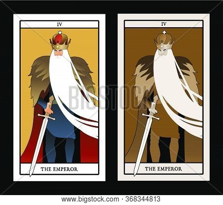 Major Arcana Tarot Cards. The Emperor. Man With Crown And Long White Beard, Fur Cape And Sword At Th