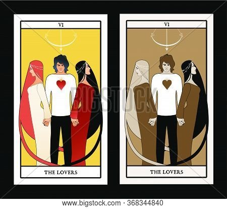 Major Arcana Tarot Cards. The Lovers. Young Man Holding Two Beautiful Women By The Hand. T-shirt Wit