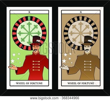 Major Arcana Tarot Cards. The Wheel Of Fortune. Master Of Ceremonies With Mustache, Wearing Top Hat