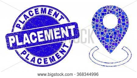 Geometric Map Marker Placement Mosaic Pictogram And Placement Seal Stamp. Blue Vector Round Scratche