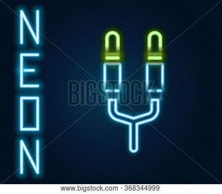 Glowing Neon Line Audio Jack Icon Isolated On Black Background. Audio Cable For Connection Sound Equ