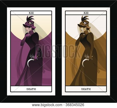 Major Arcana Tarot Cards. Death. Woman Dressed In Veils And Ancient Widow Clothes Carrying A Sickle