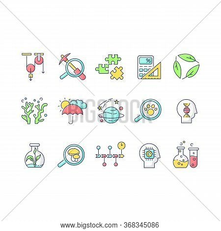 Formal And Pure Science Rgb Color Icons Set. Different Scientific Disciplines And Fields Of Study. T