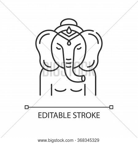 Ganesha Pixel Perfect Linear Icon. Deity In Hindu Pantheon. Indian Religion. Ancient Tradition. Thin