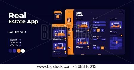 Real Estate Options Screen Vector Adaptive Design Template. Search For Housing. Buying Apartment App