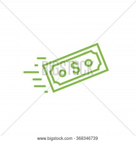 Fast Send Money Transfer Funds Payment Vector Icon. Flying Dollar Money Send Logo