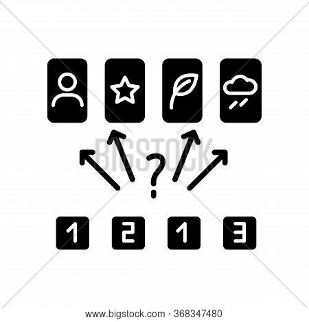 Guess The Picture Black Glyph Icon. Entertaining Logical Game, Friendly Competitive Challenge Silhou