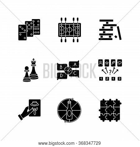 Party Games Black Glyph Icons Set On White Space. Recreation Activities, Fun Pastime Silhouette Symb