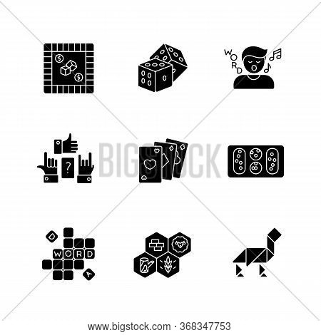 Entertaining Games Black Glyph Icons Set On White Space. Traditional Fun Activities For Family Recre