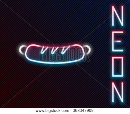 Glowing Neon Line Hotdog Sandwich Icon Isolated On Black Background. Sausage Icon. Fast Food Sign. C