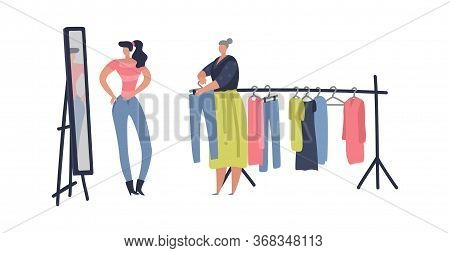 Flea Market. Woman Shopping Stuff And Second Clothes At Street Shop, Vector Clothing Bazaar Flat Mar