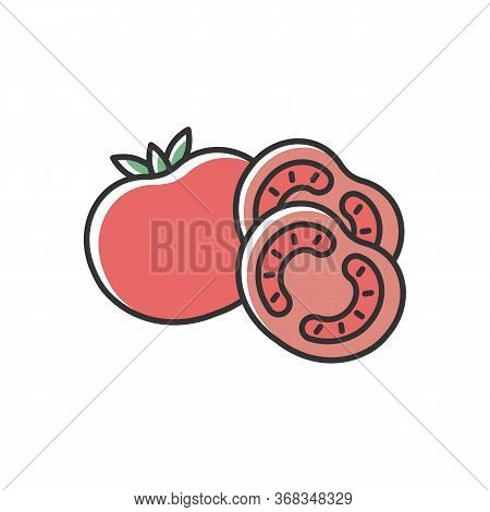 Tomato Red Rgb Color Icon. Ketchup Sauce Recipe. Fresh Vegetable And Nourishment. Healthy Eating, Nu