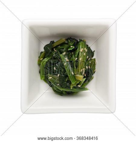Ohitashi - Japanese Vegetable Salad In A Square Bowl Isolated On White Background;