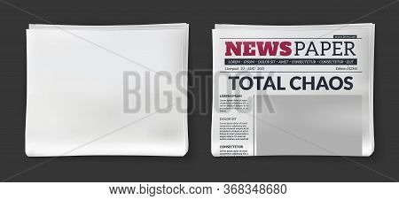 Newspaper Headline. Vector Daily Magazine With Print Publication Tabloid And Blank Paper Template Fo